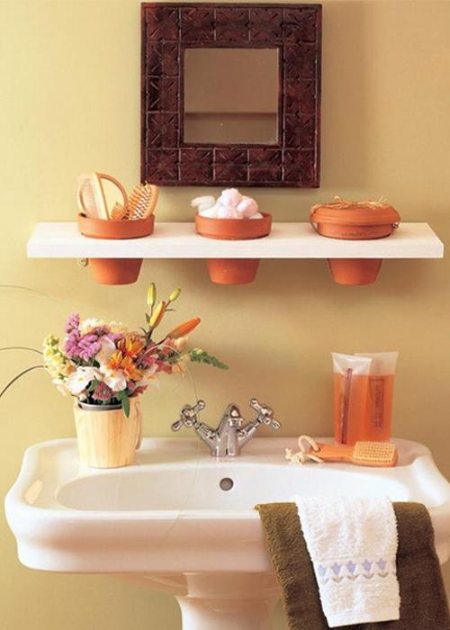 Цветочные горшки, как органайзеры в ванной