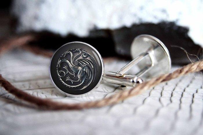 Мужские запонки из ювелирной стали House Targaryen - Blue Agave Studio