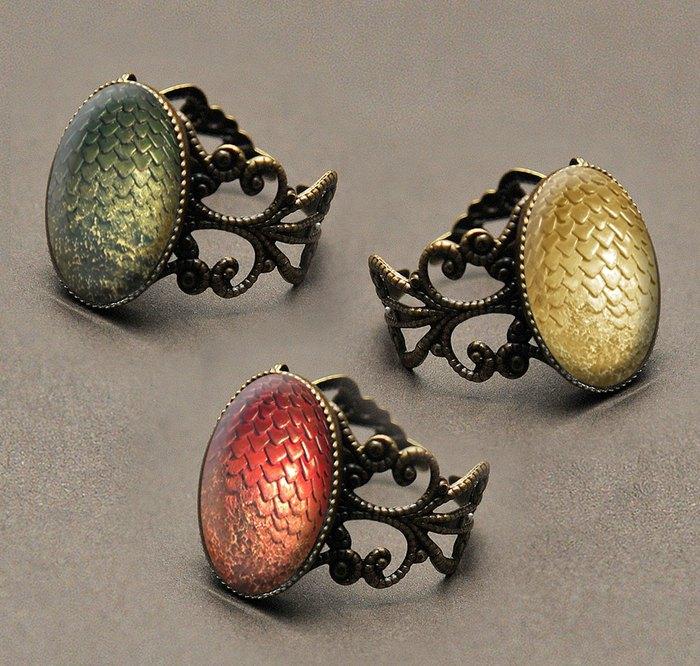 Кольца Драконьи яйца (металл, стекло, филигрань) - Spookyisland (Великобритания)