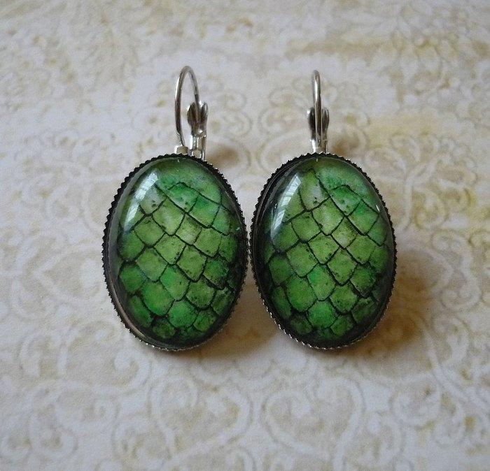 Серьги Драконьи яйца (серебро, стекло) - Mystic Pendants