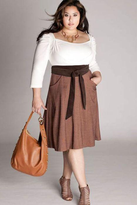 Хорошее сочетание одежды для полной женщины