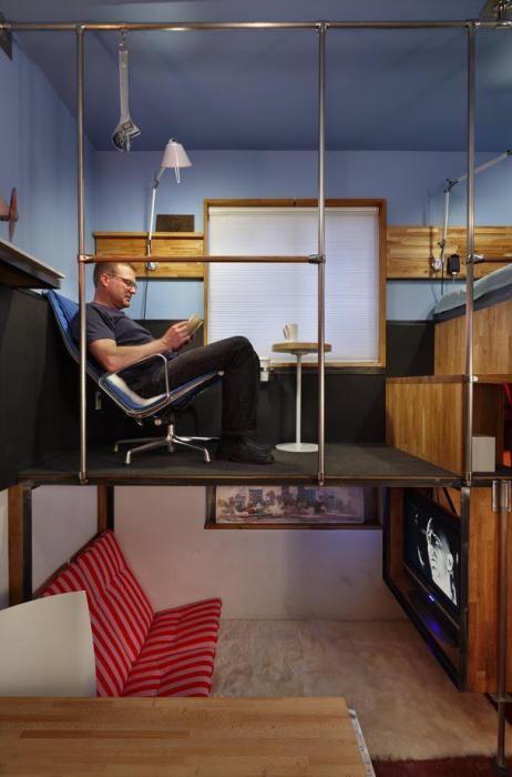 Квартира поделена на три уровня