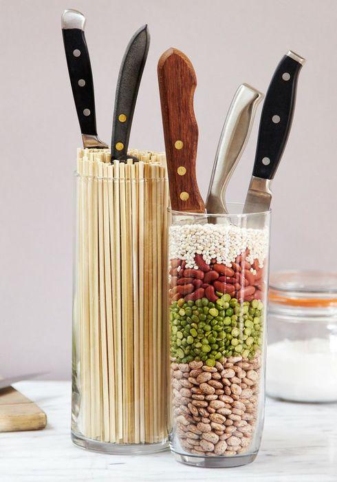 Оригинальное хранение ножей в фасоли и бамбуковых палочках