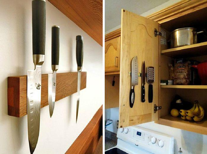 Хранение ножей на магнитных держателях