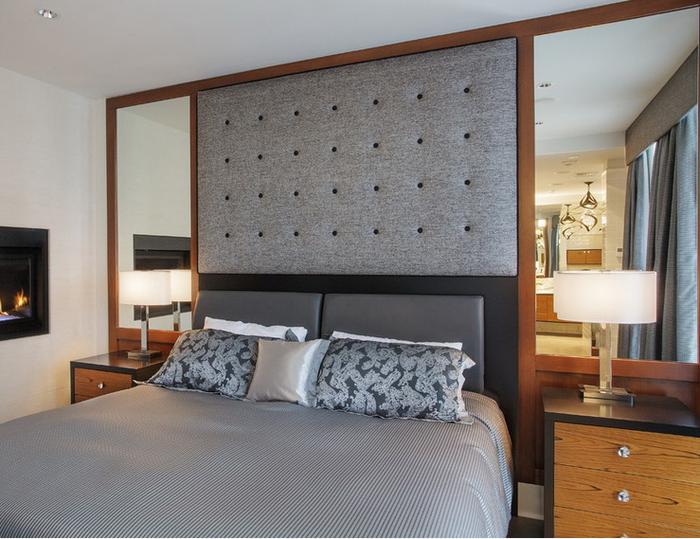 Пример того, как можно украсить зеркалами изголовье кровати