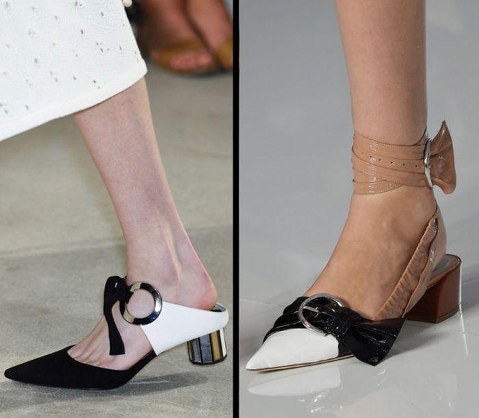 Острый носок + низкий каблук