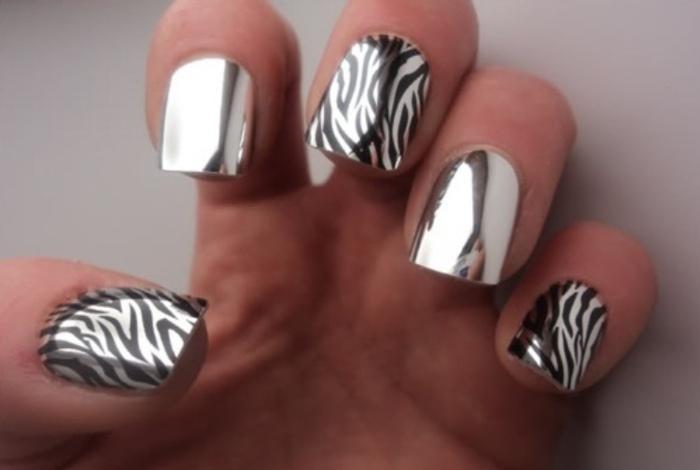 Металлический блеск на ногтях