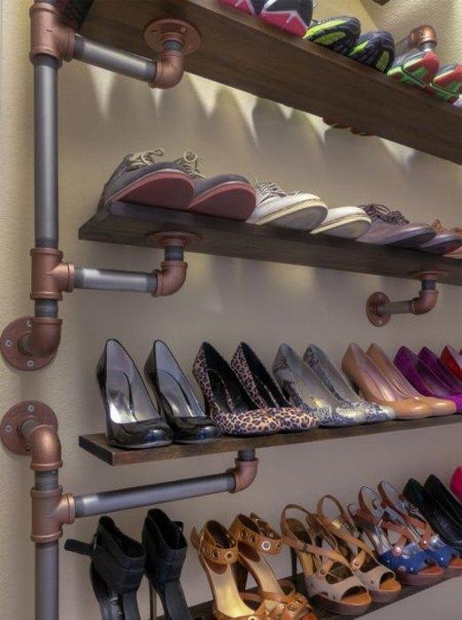 Полки для обуви из подручных материалов своими руками