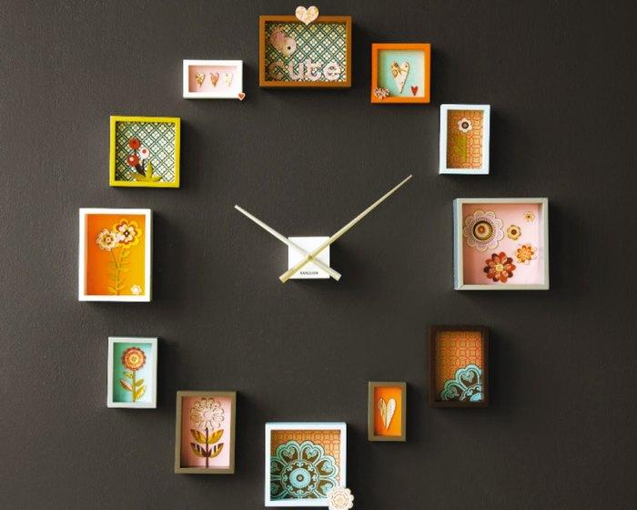 Настенные часы из обоев