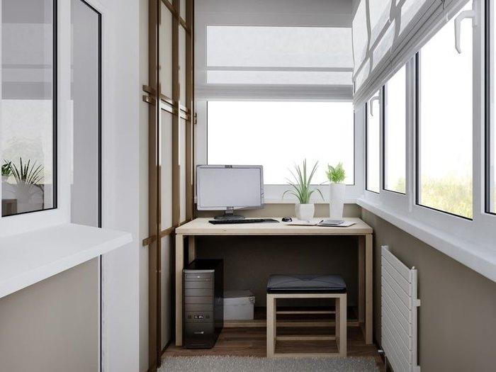 Минималистичное рабочее место на балконе