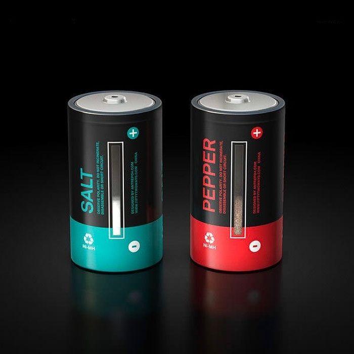 Солонка и перечница в виде батареек