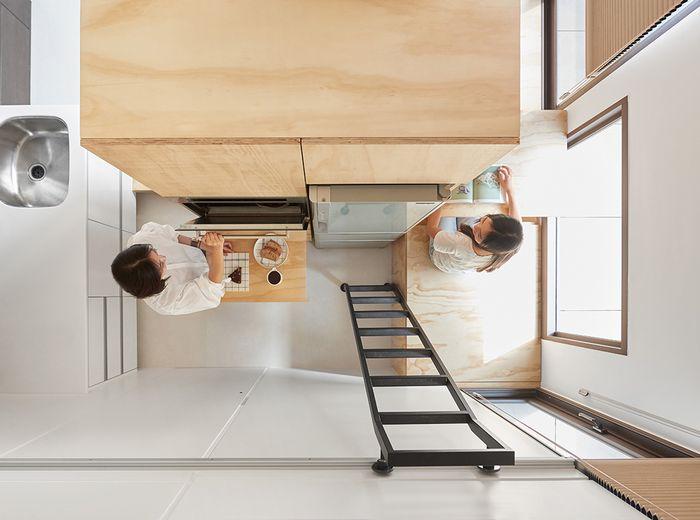 Вид сверху на зону кухни