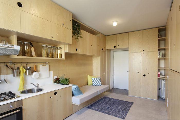 Фанерная история: крутая маленькая квартира, в которой круто организованно пространство