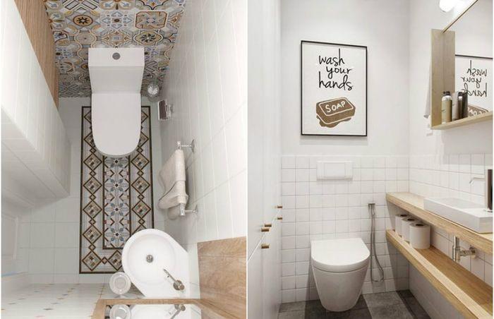 10 стильных и практичных идей для маленького туалета