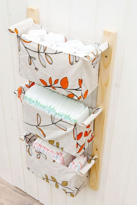 Текстильные корзинки для хранения детских вещей