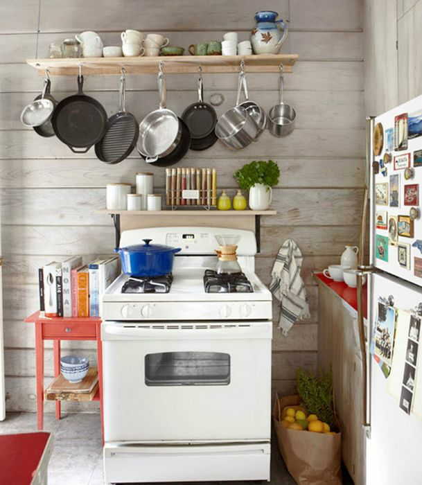 Хранение кастрюль и сковородок на небольшой кухне