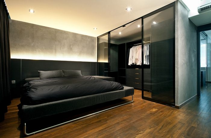 Чёрная спальня холостяка
