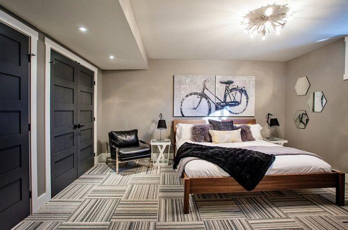 Смелый интерьер холостяцкой спальни