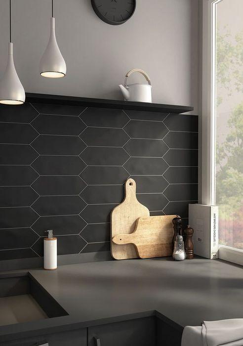 Стильная матовая плитка на кухне