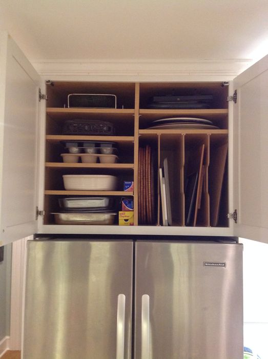 Хранение кухонной утвари над холодильником