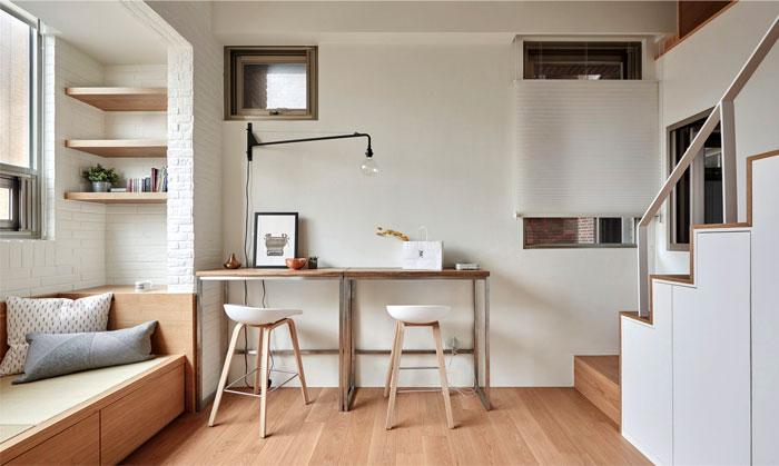 Зона для столовой и работы