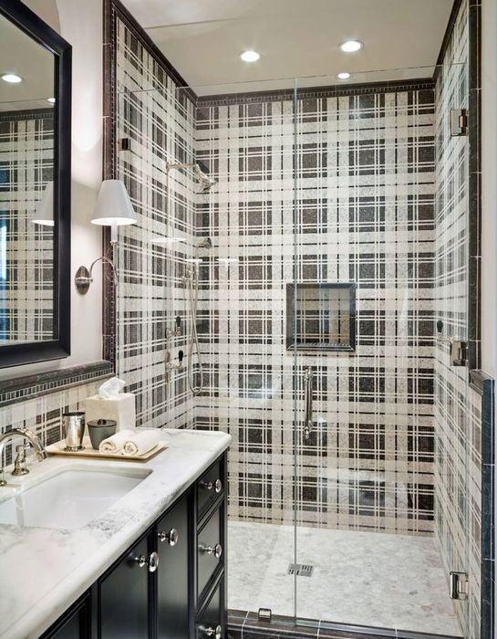 Тартан в интерьере ванной