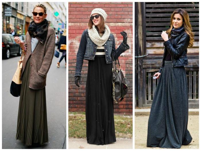 Стильные длинные юбки сочетаются с разной одеждой
