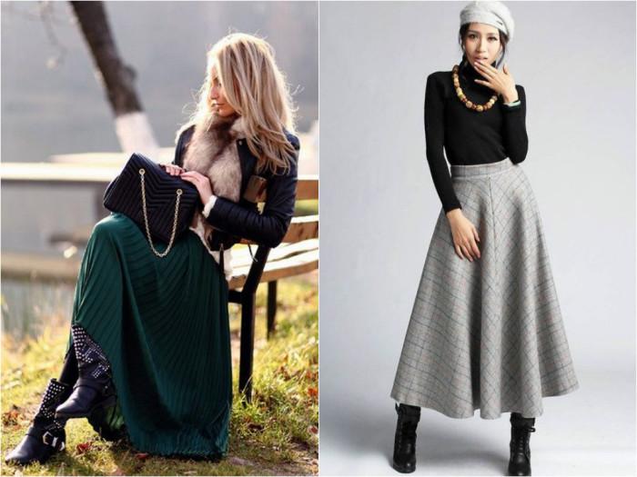 Длинные юбки зимой фото