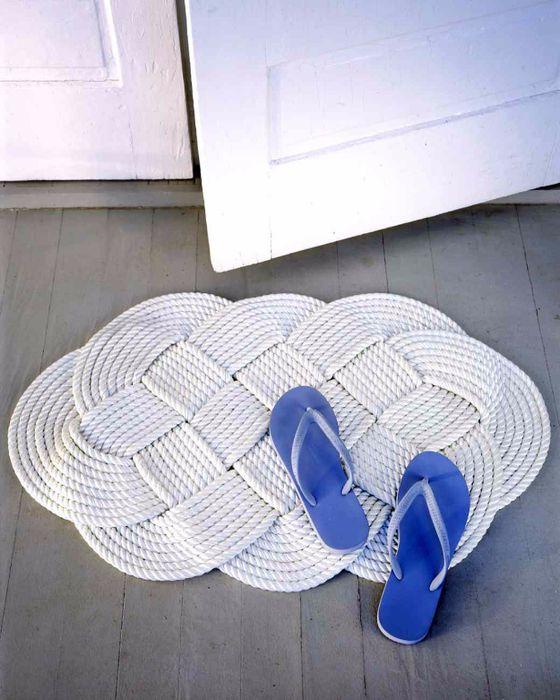 Стильный коврик из верёвки