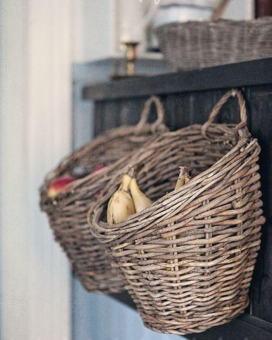 Плетёные корзины в интерьере кухни