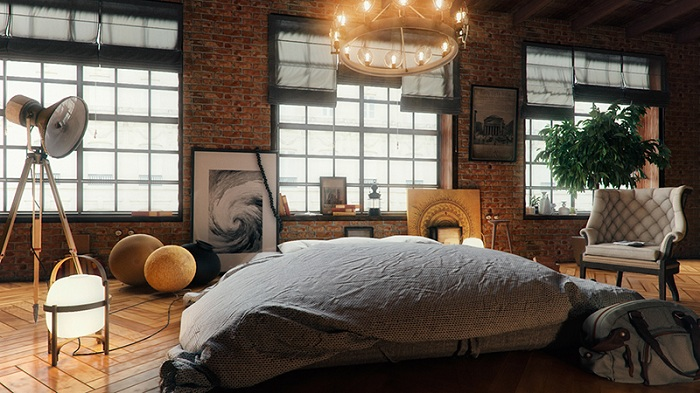 Интересный интерьер в стиле лофт с яркими огнями и фотографиями.