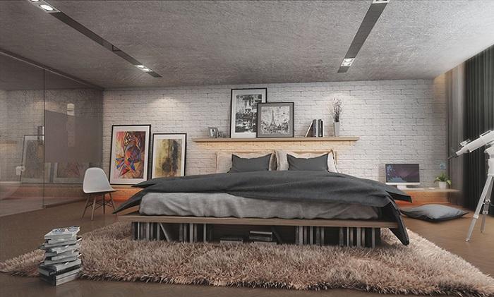 Контраст текстур в этой спальной - это то, что вдохновит по-настоящему.
