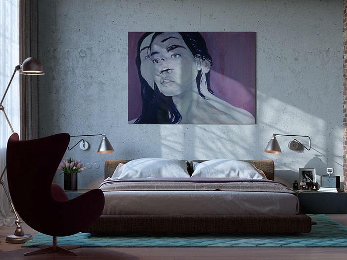 Необыкновенная картина, которая дополняет интерьер в стиле лофт, организованным аккуратно и хорошо.