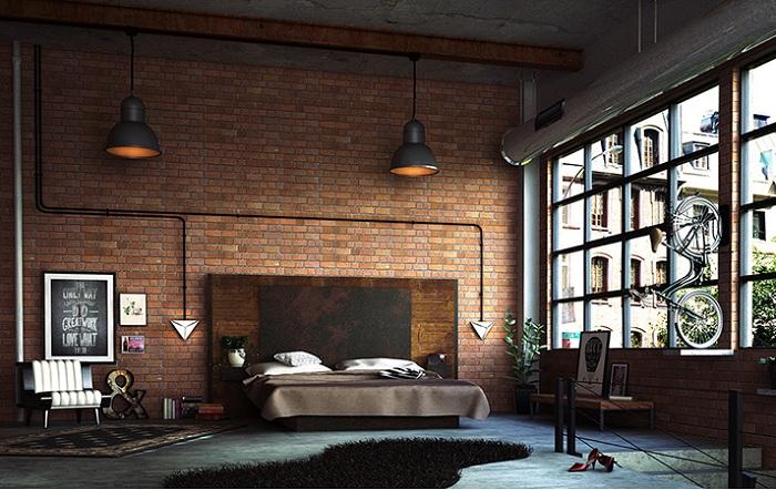 Промышленным подход к дизайну спальни с акцентами на минимальные детали и необработанность архитектурных материалов.