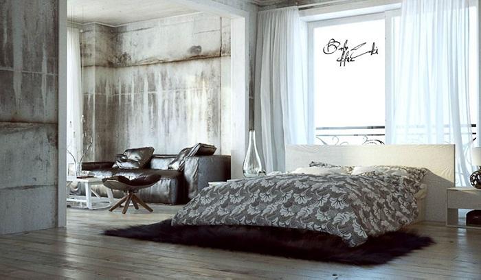 Бетонные неокрашенные стены сочетаются с утонченной дизайнерской мебелью что характеризует стиль лофт.