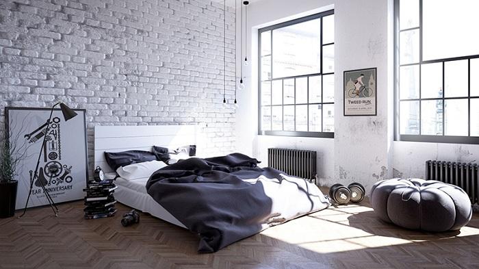 Хороший вариант оформить спальню в стиле лофт в черно-белых тонах с белыми кирпичными стенами.