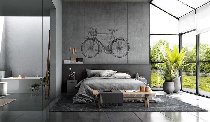 Идея для оформления спальни в стиле лофт.