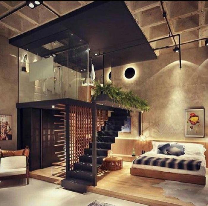 Оригинальное решение оформить душевую на втором этаже, что выглядит очень нестандартно.