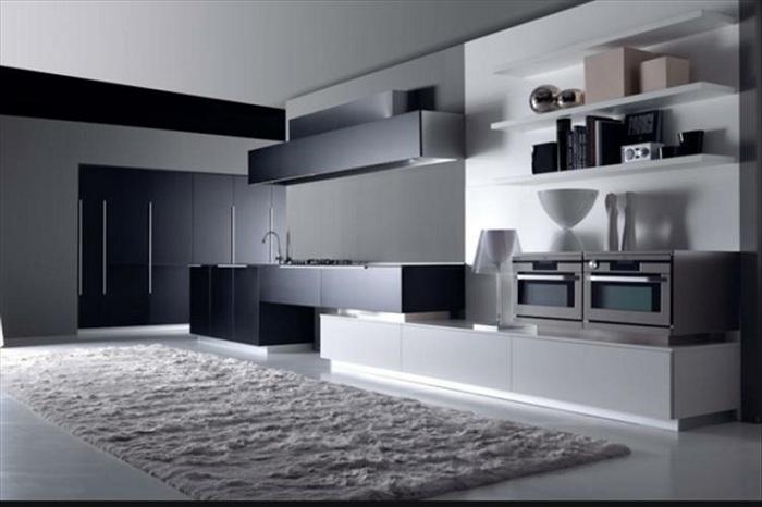 Кухня в черно-белых тонах в стиле модерн.