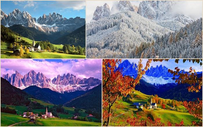 Природный парк Пюц-Гайслер расположен среди Альпийских гор.