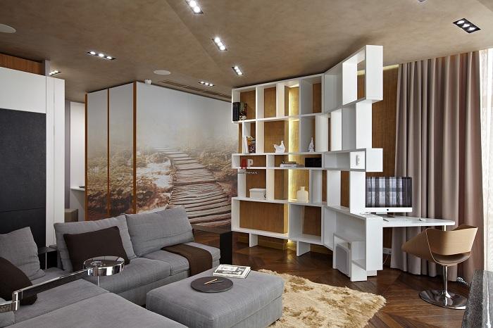 Прекрасний варіант успішно оформити інтер'єр кімнати з ажурною перегородкою.
