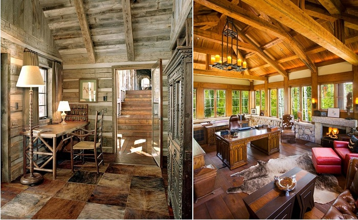 Уютные домашние офисы в деревенском стиле.