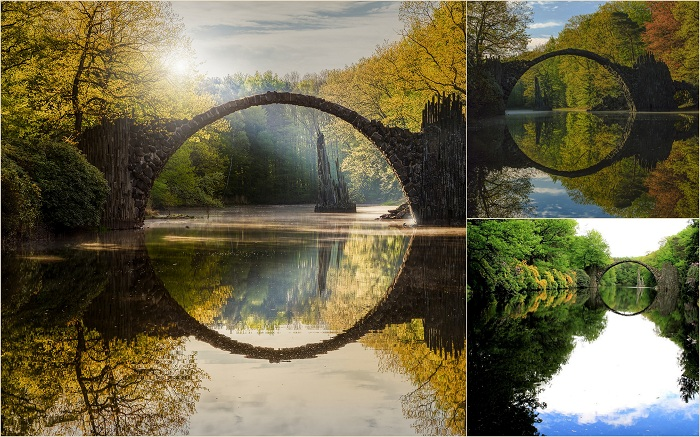 Постройка 19 века. Вместе со своим отражением в озере Чертов мост образует безупречно правильный круг. Это явление породило легенды об архитекторе, заключившим сделку с дьяволом, и о том, что здесь находится портал в другие миры.