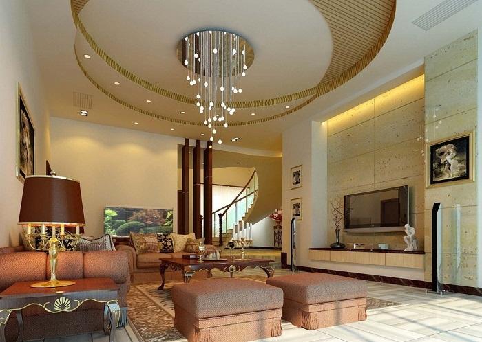 Интересный потолок, который выполнен в виде двух кругов, которые пересекаются и это создает легкое настроение.