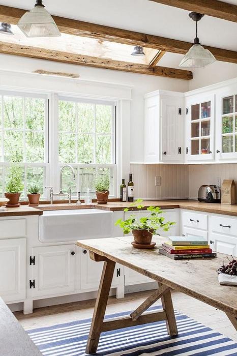 Светлая и легкая атмосфера в кухне привнесет массу положительных эмоций и подарит только хорошее настроение.