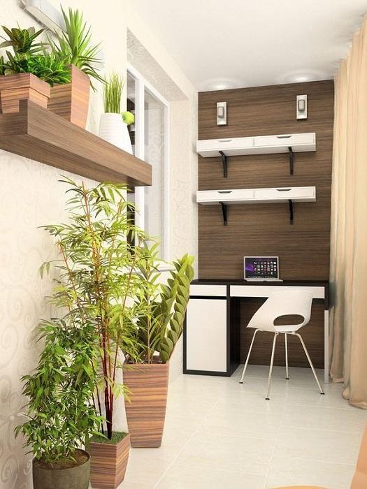 Хорошенький вариант создать отличное решение и интересный интерьер в компактной комнате оформленной под домашний офис.