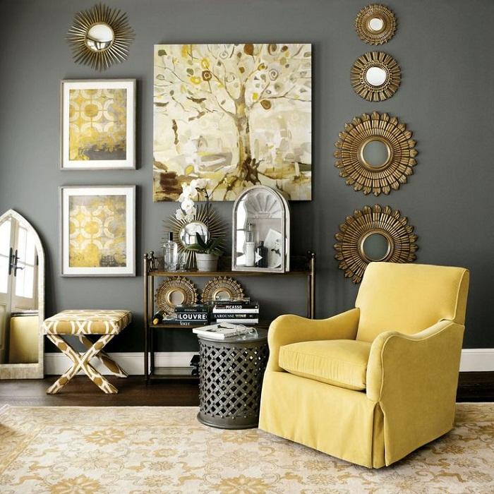 Интересное и очень привлекательное сочетание бронзового и желтого в интерьер гостиной позволит создать невероятный интерьер.
