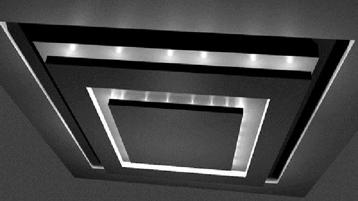 Просто отличный вариант оформления потолка при помощи очень темных и строгих текстур, что создаст очень необычную обстановку.