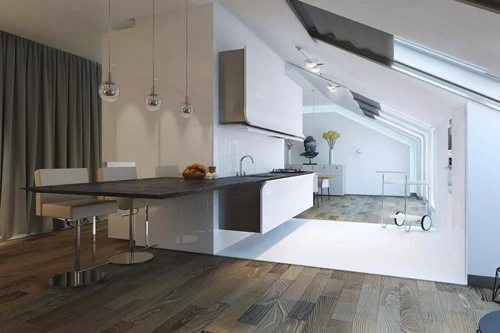 Ультрасовременная кухня с прекрасным интерьером в черно-белых тонах.