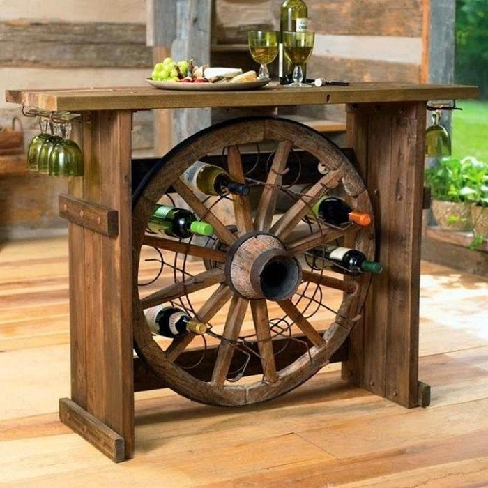 Место для хранение вина - очень креативный вариант создания необычной обстановки в комнате.